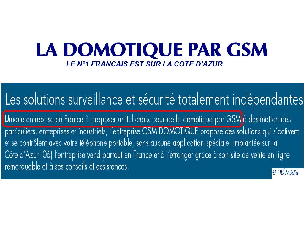 GSM-DOMOTIQUE N 1 DANS LA PRESSE 2018