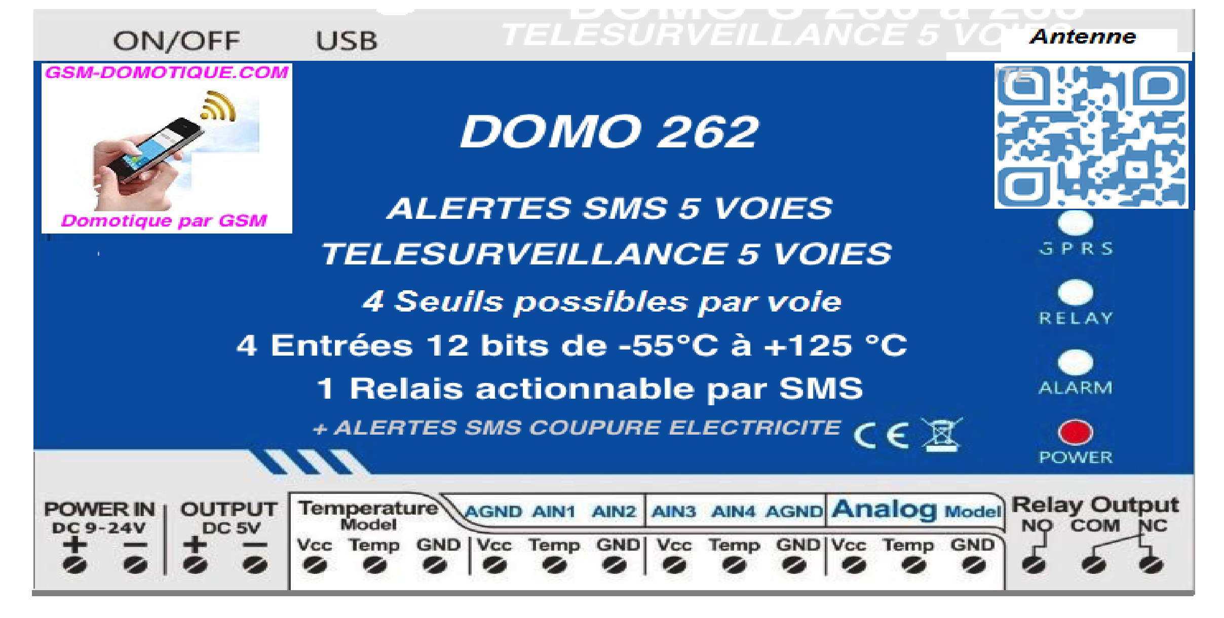 Télésurveillance par SMS 5 voies