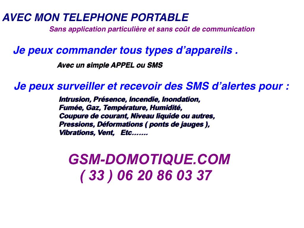 Portable, commandes, surveillances domotique