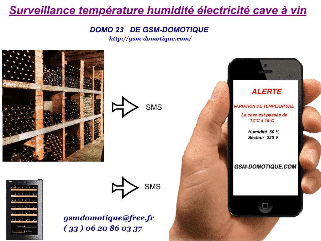 Surveillance température humidité électricité cave à vin