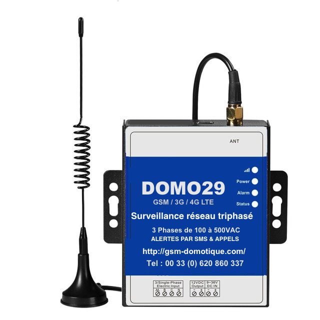 Module GSM d'alarme pour controle des réseaux triphasés DOMO29