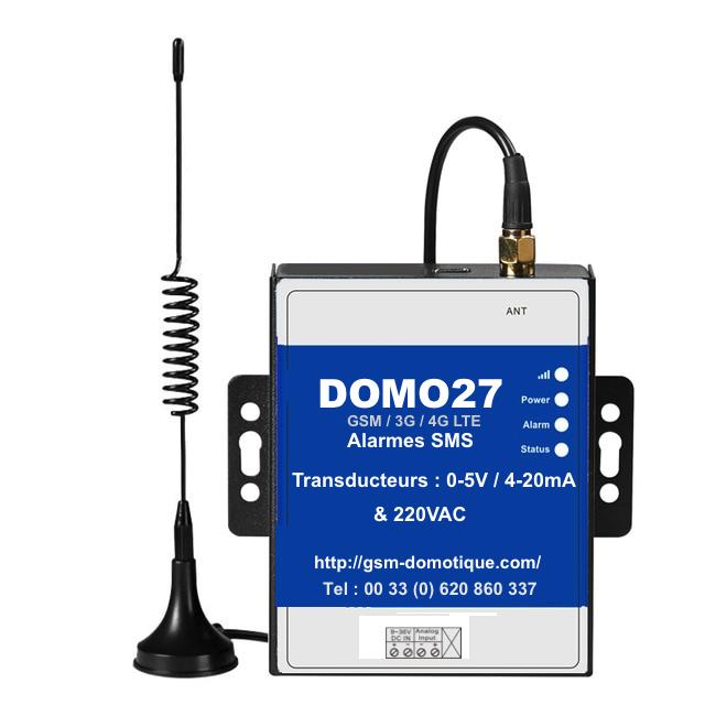 Module GSM d'alarme pour transducteur analogique 4-20mA 0-5V DOMO27
