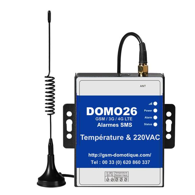 Alertes et surveillances température par SMS DOMO 26