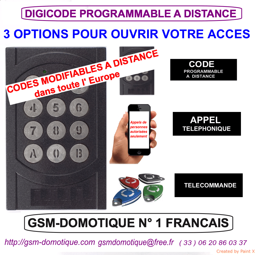 DIGICODE PROGRAMMABLE A DISTANCE