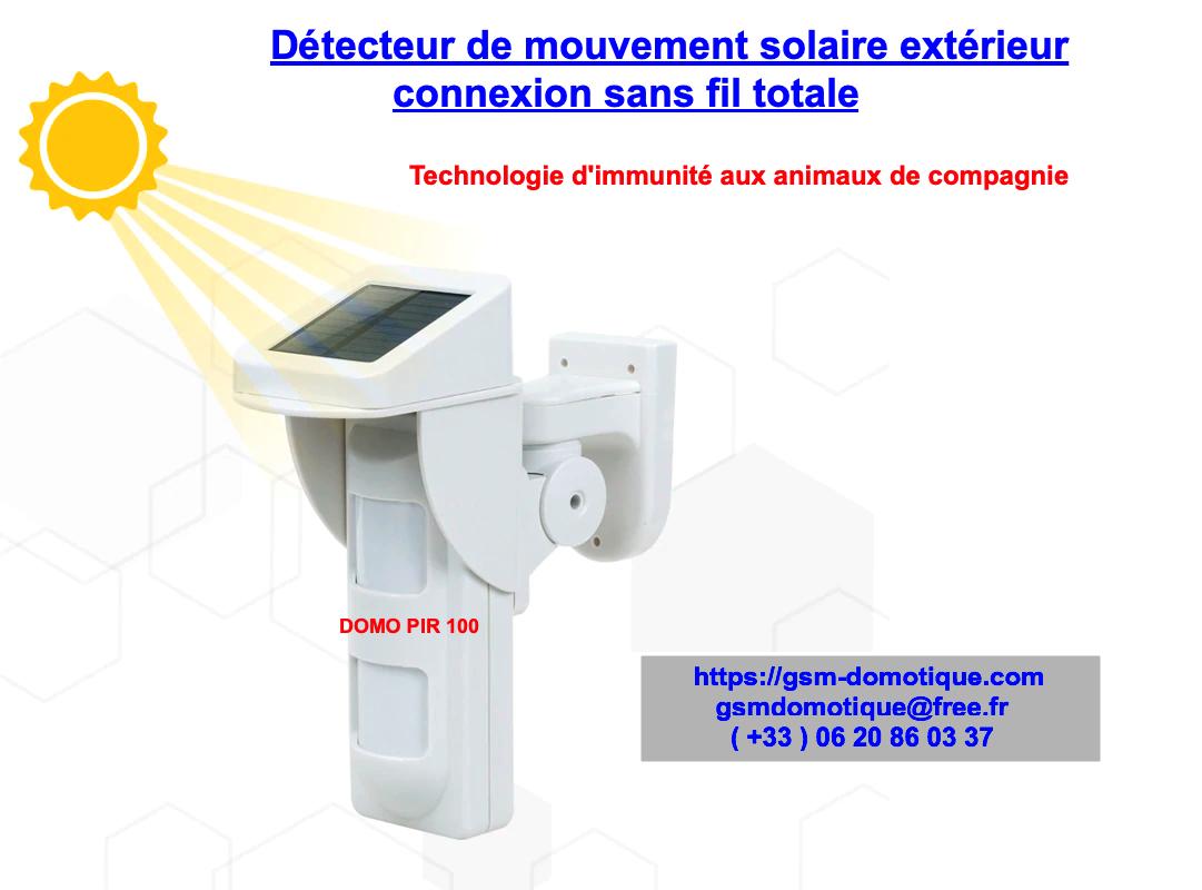 Détecteur de mouvement solaire extérieur sans fil