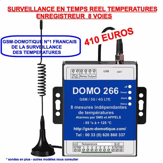 Enregistreur et alertes températures 8 voies de GSM-DOMOTIQUE